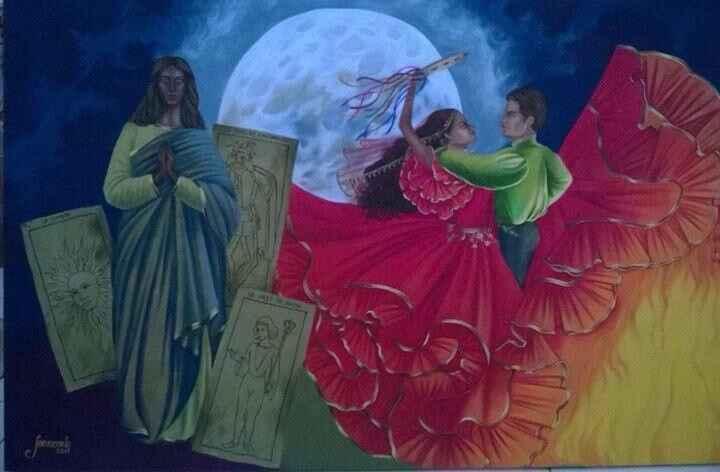 Um casal de ciganos dançando debaixo da lua, com as bençãos da Santa Sarah rodeada de cartas do Baralho Cigano