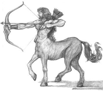 Desenho de um centauro, metade homem, metade cavalo, apontando a flecha com o seu arco - Símbolo do signo de Sagitário