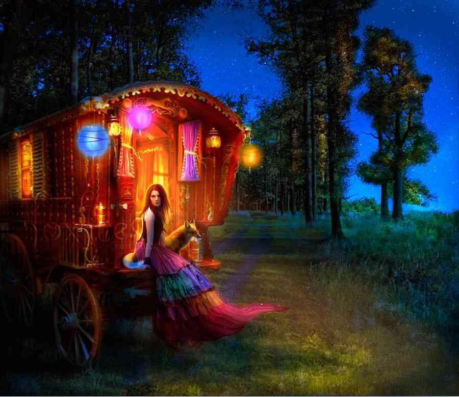 Carroça cigana no campo