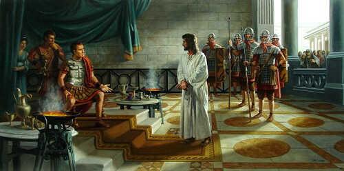 Jesus diante de Pilatos em seu julgamento