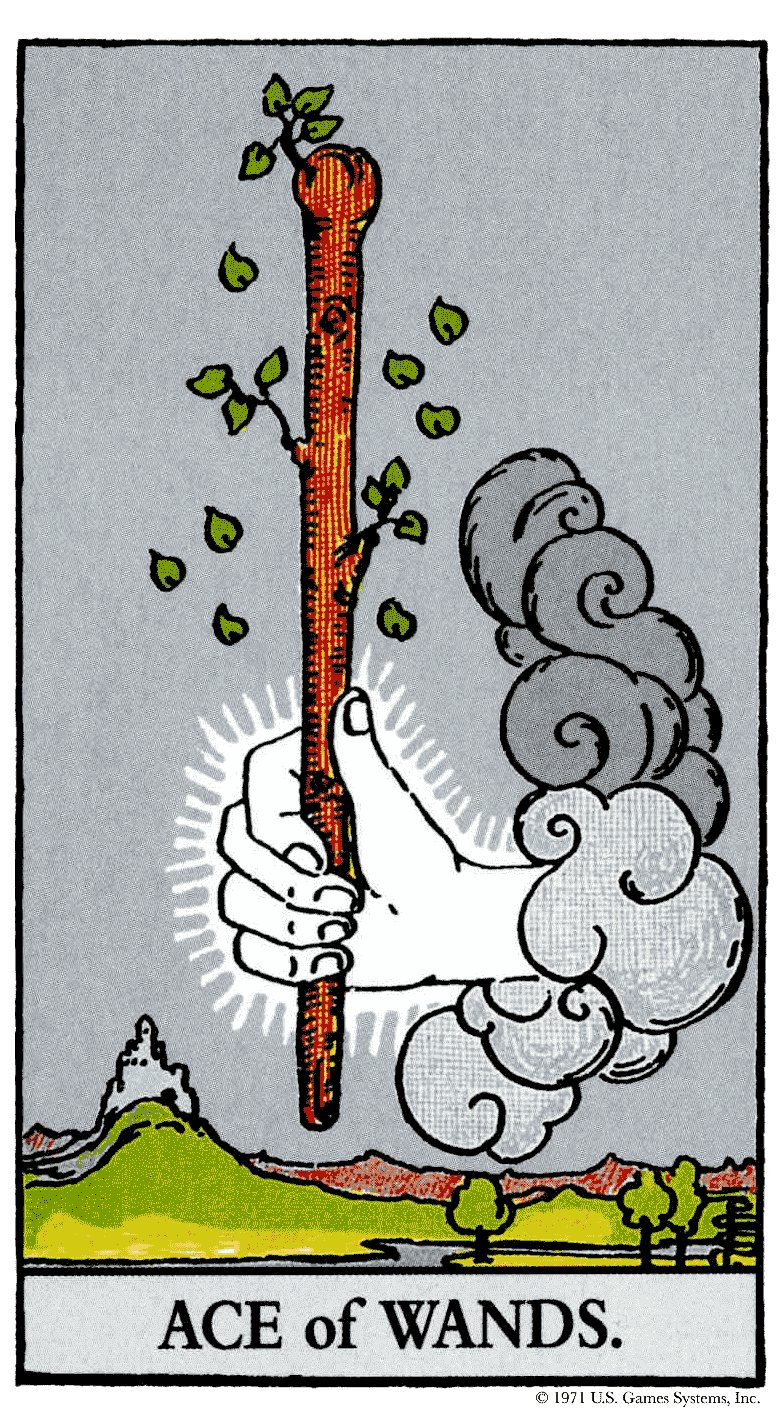 Carta do Tarot Ás de Paus Arcano Menor