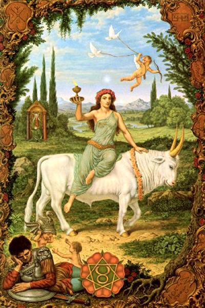 Vênus em Touro montada em um touro na natureza